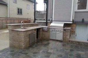 outdoor-kitchen by Old world brick paving